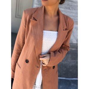 SADI Linen Oversized Blazer - Peach
